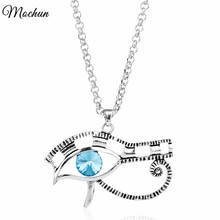 MQCHUN Egyptian Eye of Ra Horus Antique Silver Color Choker Necklace With Blue Crystal Charm Pendant Handmade Jewelry(China)