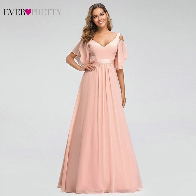 Bridesmaid Dresses Wedding-Party-Robe Ever Pretty A-Line Elegant Pink Off-The-Shoulder title=