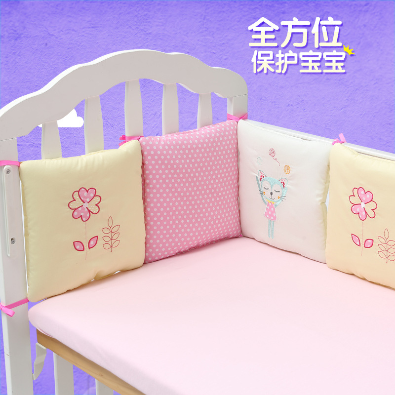 New Style Infant Crib Bumper Bed Protector Baby Kids Cotton Cot Nursery bedding 6 pc Cotton Pink Cat bumper girl