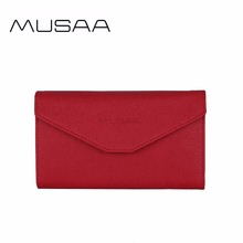 MUSAA Red Fine Women Organizer Wallet 2017 Key Ring Holder Coin Purse Boutique Small PU Leather Clutch Bag for Girl(China)