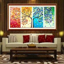 10357 см 1 компл. Большой Вышивка крестом Вышивка Наборы DIY счетный крест красочные ручной работы 3D Дерево стены украшения дома и офиса(China)