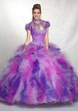 Rainbow 2016 New Colorful Sweetheart Dress Ball Gown Ruffles Beaded Quinceanera Dresses with Jacket Vestidos