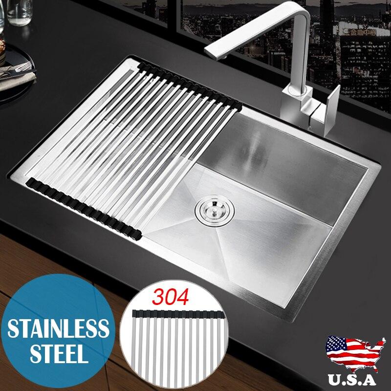 Mayitr Commercial Single Bowl Kitchen Sink Undermount 18 Gauge Stainless  Steel Floor Drain Sink Strainer Kitchen