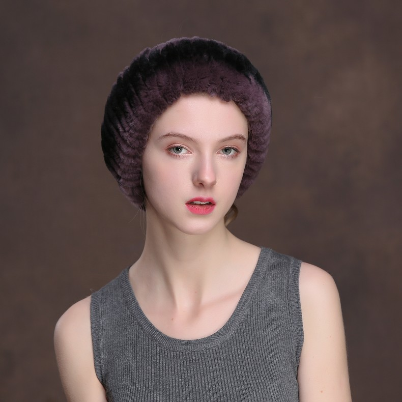 Winter Fur Headbands For Women Knitted Rex Rabbit Fur Scarf Hats Natural Fur Ring hairband Neckwarmer female (18)