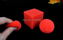 Free shipping! 25pcs/lot  Ball To Square Sponge Balls To Red Square - Magic Trick, Fun Magic,Magic Accessories,Close-up,Stage