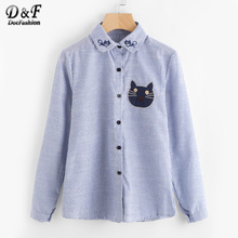 Dotfashion Vertical Striped Cartoon Cat Embroidery Shirt Summer Female Button Cute Top Blue Long Sleeve Equipment Blouse(China)