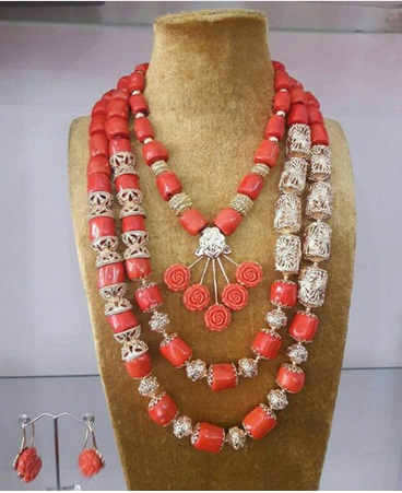 Dubai Gold Coral Jewelry Amazing Wedding Nigerian Coral Beads Jewelry Set African Traditional Bridal Coral Necklace Set ABH601