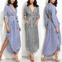 Buy New Style Womens Stripe Belted Deep V Neck Long Sleeve Top Blouse Long Maxi Dress Sexy Fashion Hot Sales Dresses Wolovey#25 for $13.51 in AliExpress store