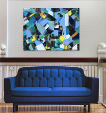 Blue Abstract Patchwork Mosaic Hand Painter modern abstract mosaic blue brush color office original canvas wall art home decor