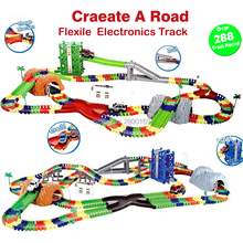 Coaster DIY Flex Race Track Create A Road Deluxe Over 288Piece Flexible Track Playset with Accessories Railway Rail cars toys(China)