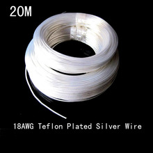 free shipment 20M 18AWG Transparent teflon silver plated copper wire