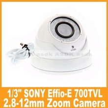 "Waterproof 1/3"" SONY CCD Efiio-E 700TVL 36 LED IR Night Vision Outdoor CCTV Security 2.8-12mm Zoom Dome Camera (OSD Optional)"