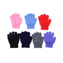 2017 NEW Boys Gloves Winter Warm Baby Gloves Children Knitted Stretch Mittens Kids Solid Girls Gloves Full Finger Glove Knitted(China)