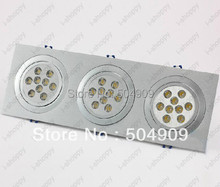27W(3*9W) 27-LED Tri-Head Recessed Ceiling Cabinet Down Light Fixture Downlight/Spotlight Bulb Lamp Rectangle 110V/220V