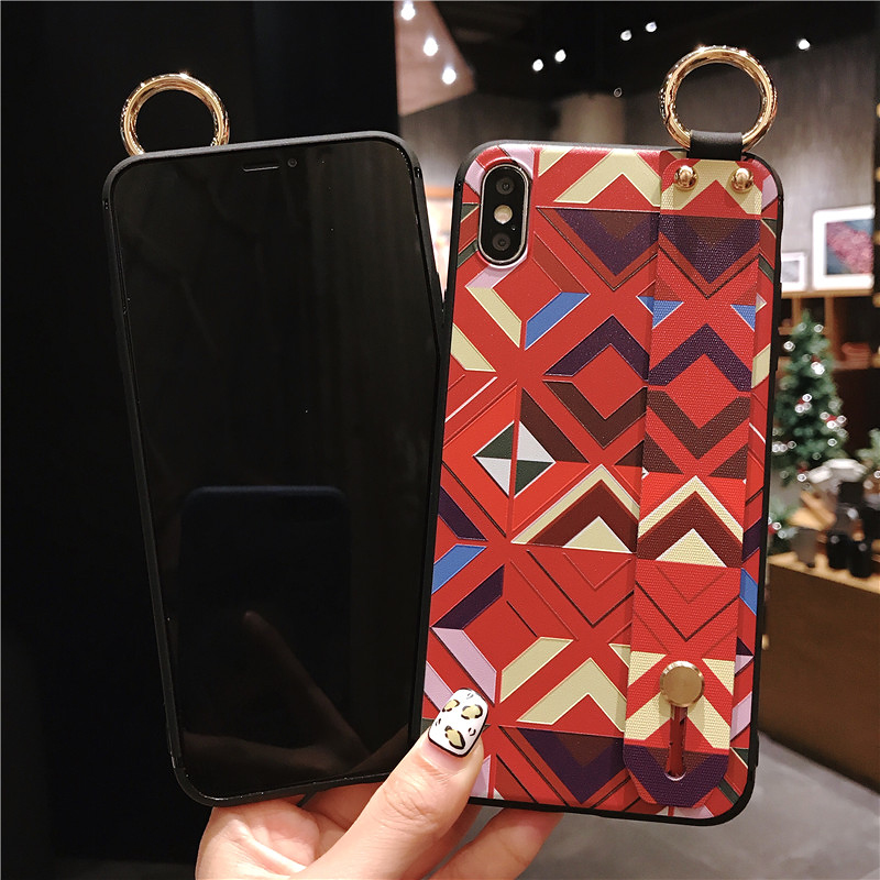 9 SoCouple Retro Grid Pattern Wrist Strap Phone Case For iphone 7 8 6 6s plus Case For iphone X Xs max XR Soft Silicone Case