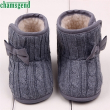 CHAMSGEND Best Seller   Butterfly Knot Baby Bowknot Soft Sole Winter Warm Shoes Boots Solid S40