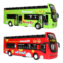 Alloy Machine Model Sightseeing Toy Musical Light Pull Back Double-decker Bus Simulation Mini Car Scale 3 Colors Magic Track Toy