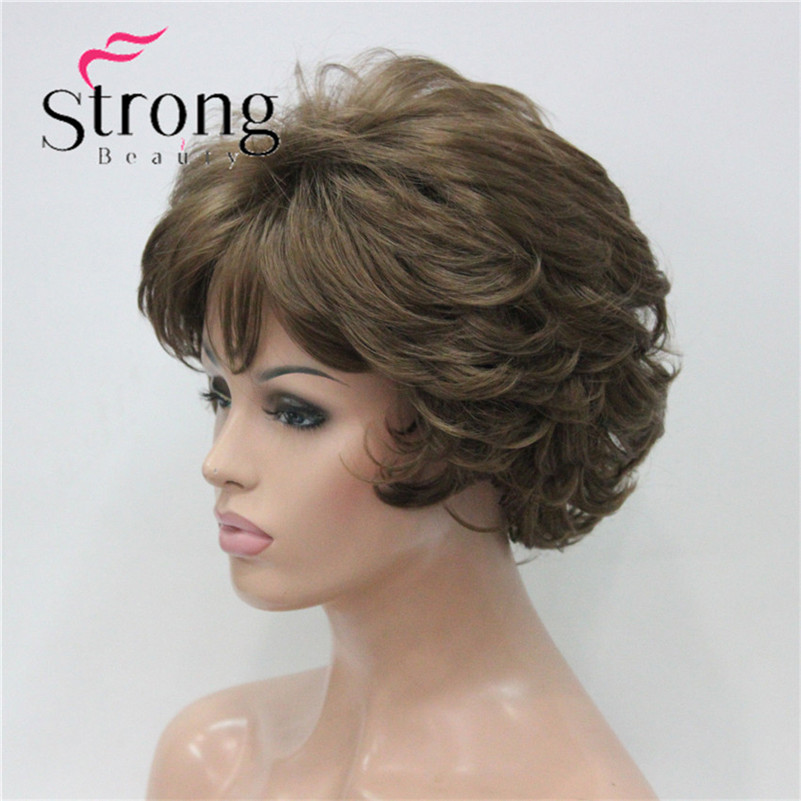 E-7125 #12New Wavy Curly Wig Light Reddish Brown Short Synthetic Hair Full Women's Wigs (3)