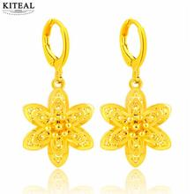 Newest pure yellow gold color earing 24K GP 5 petals flowers drop earrings for women boucle doreille femme wedding(China)