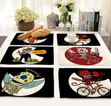 4Pcs/lot Printed Linen Placemat Place mat Table Mat creative death's head creative  polyester Dinner Coaster Dec wholesale FG683