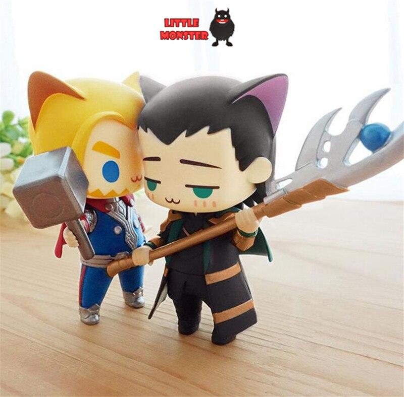 LL TOYS Marvels The avengers alliance thor Loki cat q version chibi cute Action figure Super hero model PVC dolls toys Anima<br><br>Aliexpress