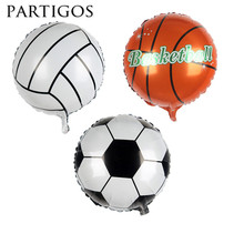 Partigos Wholesale 50pcs The Brazilian World Cup football /volleyball foil balloon M107418 inch round aluminium helium balloon