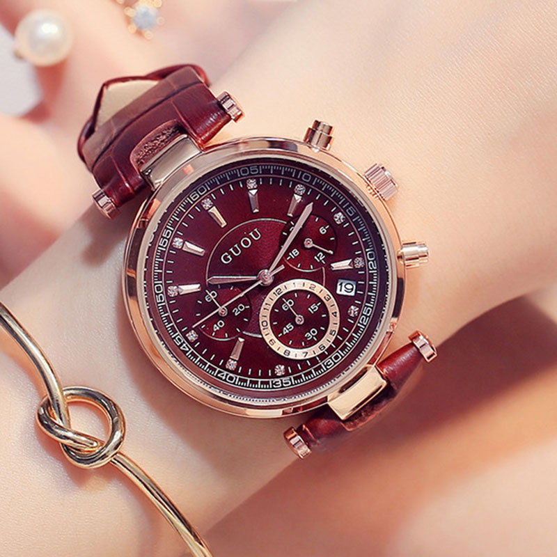 2017 Top Brand Women Rhinestone Quartz-Watch Reloj Mujer Luxury Watch Lady Leather Fashion Quartz Wristwatch Relogio Masculino<br>