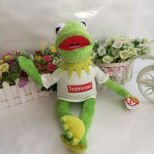 37cm Ty Toy Kermit the Frog Plush Toy The Muppet Show Sesame Street Character With Supreme Clothes &Steel Wire Can Make Pose