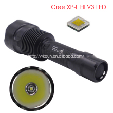 Easy Heat Sink C12 CREE XP-L HI V3 1600 Lumens 6500K Cool White Light Smooth Reflector Cup LED Flashlight Lamp Torch (1* 18650)
