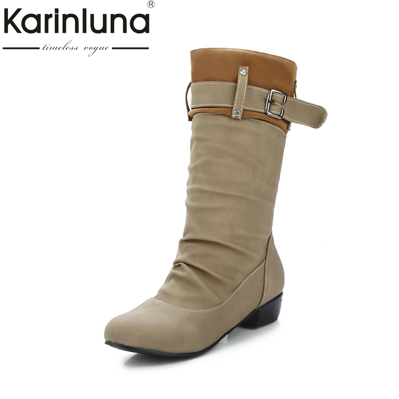 KARINLUNA Large Size 34-45 Western Boots Women Shoes Woman Slip On Buckle Autumn Winter Cowboys Boots Retro Botinne<br>