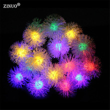 ZINUO Solar Christmas Light Outdoor Garden Light 4.8M 20pcs Snow Ball Solar Garland Edelweiss New Year/Christmas Decoration(China)