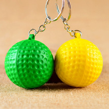 3pcs/lot Jewelry golfball rugby cell key accessories PU foam golf football keychain American football key chain ring gift