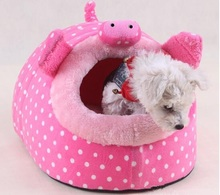 pink dots lovely princess Pet supplies dog kennel stuffed powder Fenfu kennel warm nest, cat beds(China)