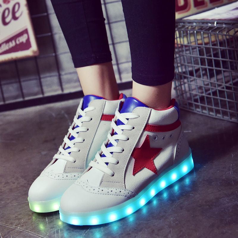 Womens Led Shoes For Adults Ankle Boots 2017 New Flat Light Shoes Luminous Glowing Help Usb Charging White Shoe Botines Mujer<br><br>Aliexpress