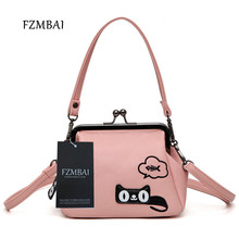 FZMBAI 2017 New Western Style Fashion Women's Leather Bag Cat Kisslock Hobos Messenger Bags