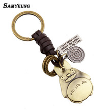 17 Styles Cool Anime Totoro Key Chains for Best Friends Leather Man's Keychain Women Keyring Male Car Key Holder Porte Clef