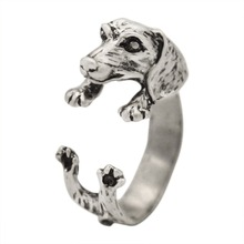 QIAMNI Handmade Dachshund Dog Puppy Animal Rings for Women Girls Pet Lover Gift Boho Chic Hippie Brass Knuckles Rings Jewelry(China)