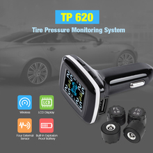 TP620 Car TPMS Tire Pressure Alarm Monitoring System Cigarette Lighter LCD Display Auto Security Alarm Systems Tire Pressure(China)