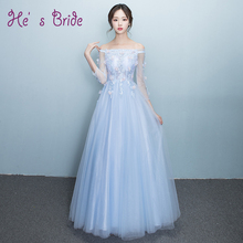 2017 New Fashion Evening Dress Fresh Light Blue Lace Flower Long Sleeved Floor-length Bride Banquet Prom Fomral Dress Party Gown