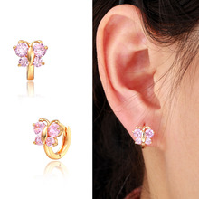 Cute Yellow Gold Color Butterfly Pink Crystals CZ Circle Huggies Small Hoop Earrings For Kids Children Girls Jewelry Aros Aretes