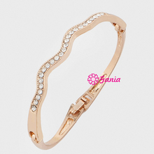 Fashion Hinged Bangles Crystal Rhinestone Infinity Wave Bangle & Bracelet for Women Birthday Gift Jewelry