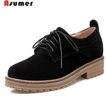 ASUMER Big size 33-43 single shoes woman lace-up round toe women shoes pumps four seasons nubuck leather shoes fashion
