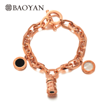 Baoyan 316L Stainless Steel Fashion Chic Silver Color Rose Gold Color Zero Charm Link Chain Bracelet for Women(China)