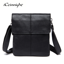 iCeinnight Genuine Leather Men's Bag Vintage Men Should Bag Famous Brand High Quality Shoulder Bag Fashion Casual Crossbody Bags