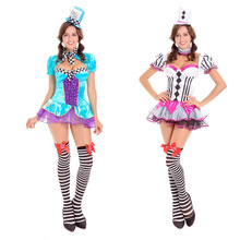 circus costume Sexy Mad Hatter Halloween Costume in Wonderland Cosplay for Women Magician Adult Costume Fancy Dress(China)