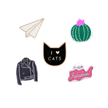 "Cat""I Love Cats""Cactus Clothes Paper Airplane Enamel Pins Brooch Jacket Collar Decorative Jewelry Classic Anime Cartoon Brooches"