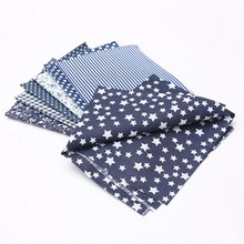 7pcs/lot 50*50cm Dark Blue Series Assorted Pre Cut Charm Cotton Quilt Fabric  Suqare Comfortable Fabric For Home Decoration