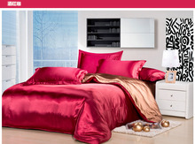 Silk bedding set wine red color beding set silk bed linen coffee silk bedspreads bed sheet silk quilt cover wedding bed set 5041
