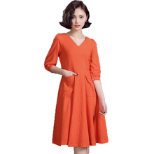 2017 Spring Woman Swing Dress Orange Yellow Gray Linen Blend One Piece Half Sleeve  Dresses V-neck Essential Robe Femme Fashion