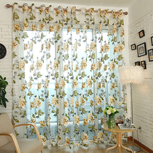 1Pc European Style Floral Peony Flower Pattern Tulle Curtain House Decor Door Panel Sheer Scarf Window Curtain #229325